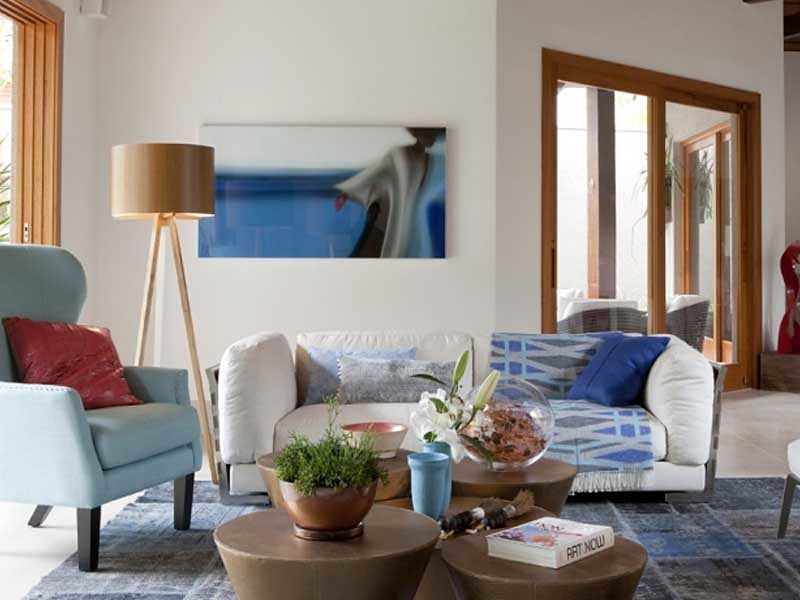 abajur sala decoração azul