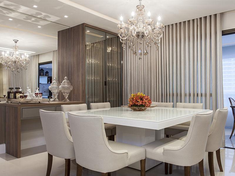 lustre de cristal mesa branca