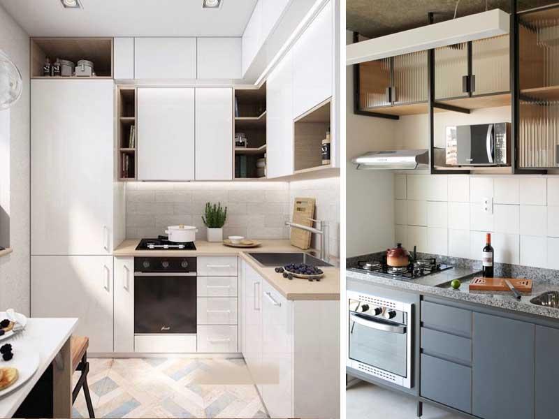 foto colagem com exemplo de cozinhas pequenas