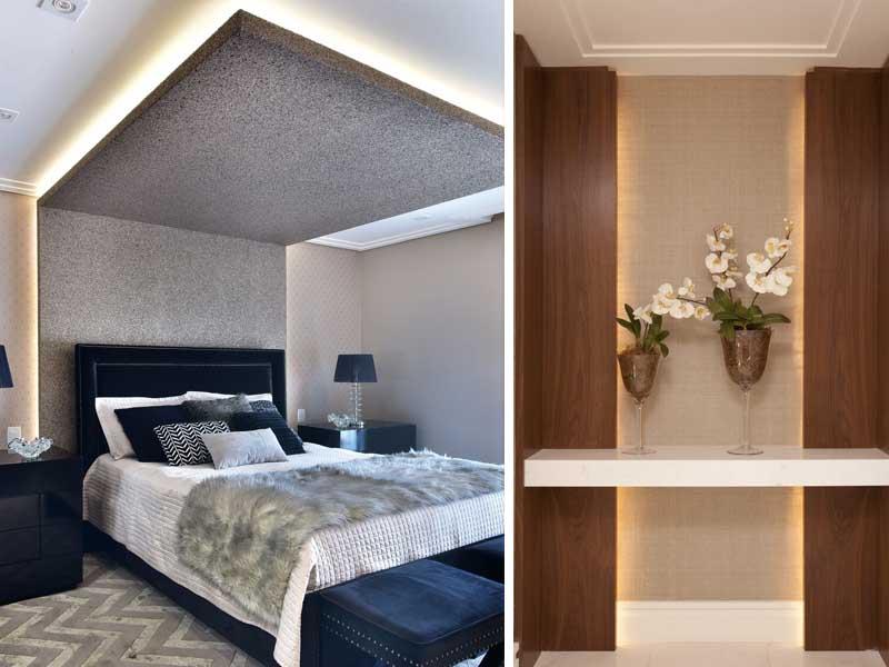 quarto com projeto de luzes
