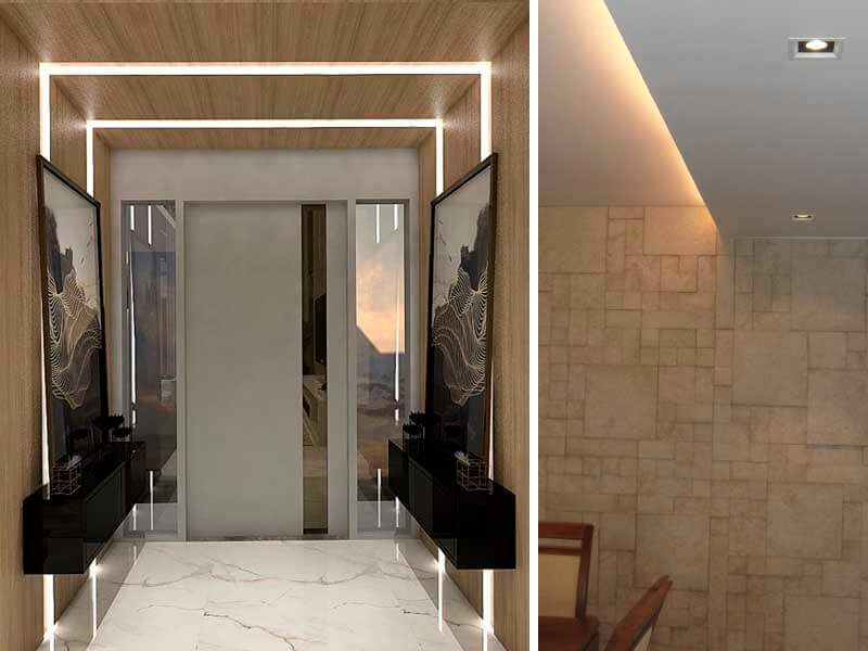 iluminação indireta corredor
