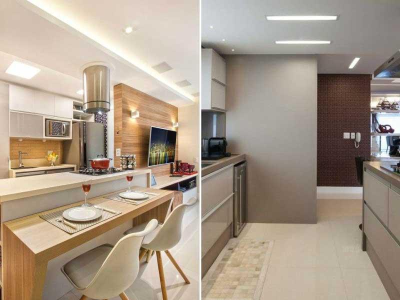 iluminação horizontal de cozinha