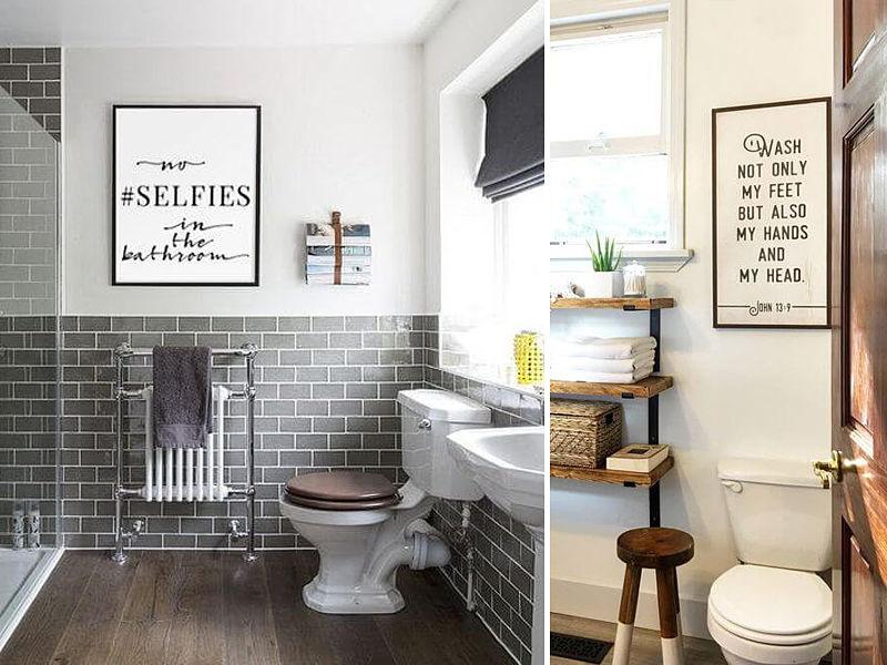 quadros em banheiro