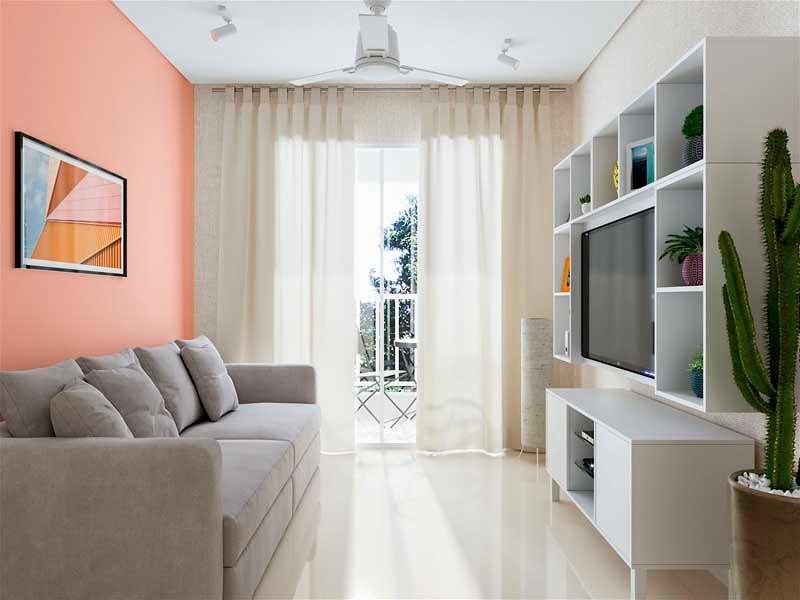 sala pequena com móveis adaptados