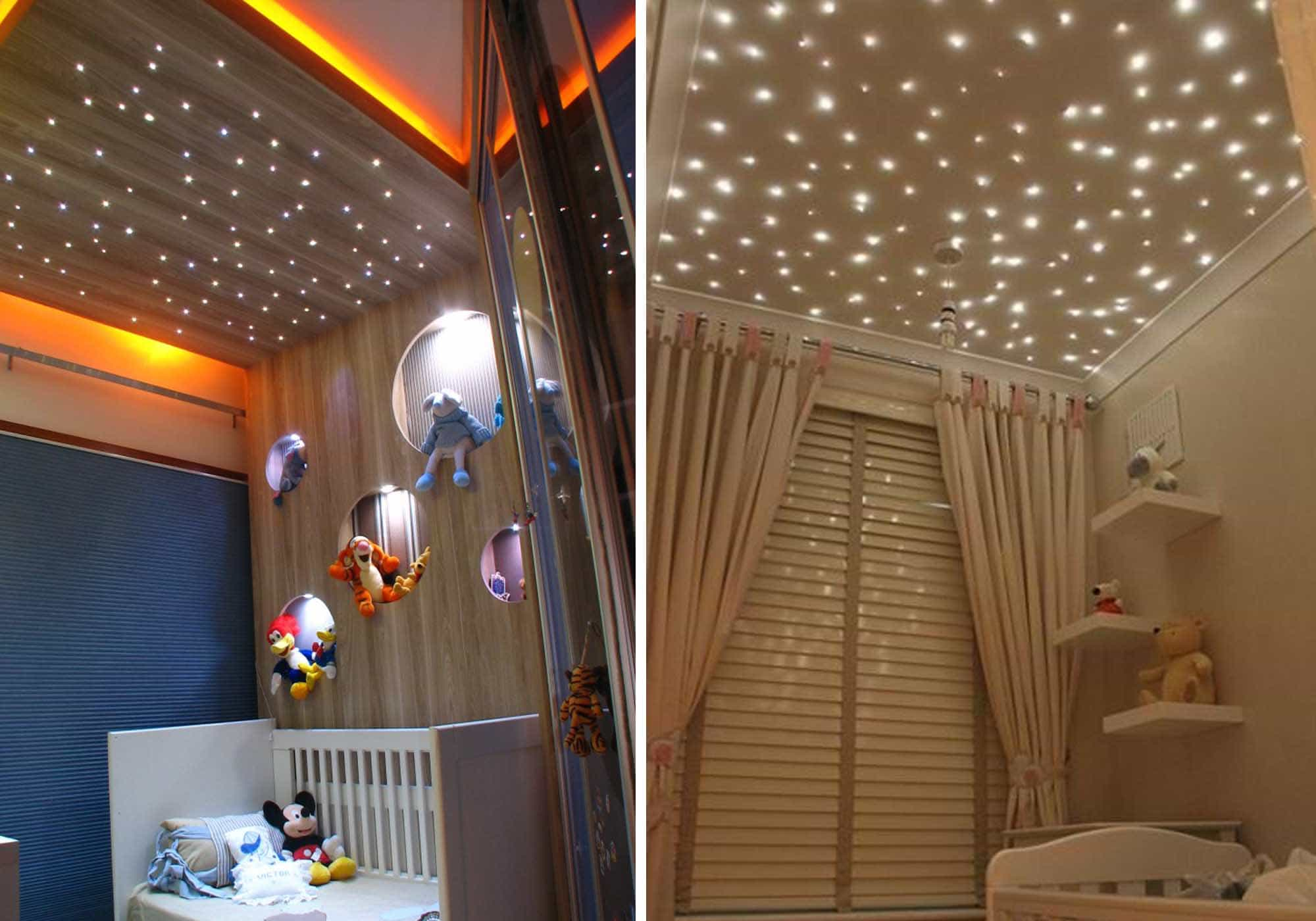 imagem de quarto infantil com céu estrelado