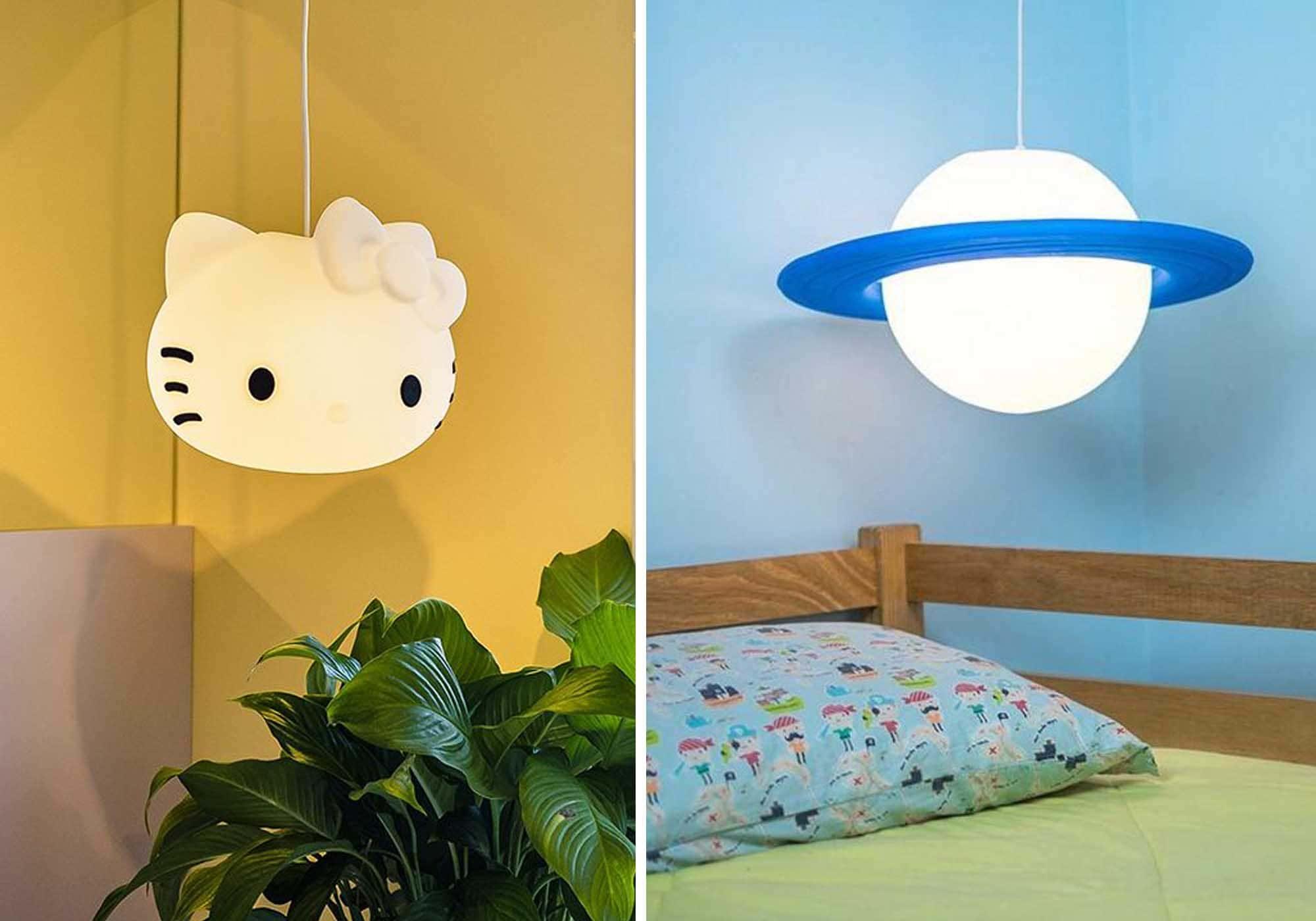 imagem de quarto infantil com luminária pendente