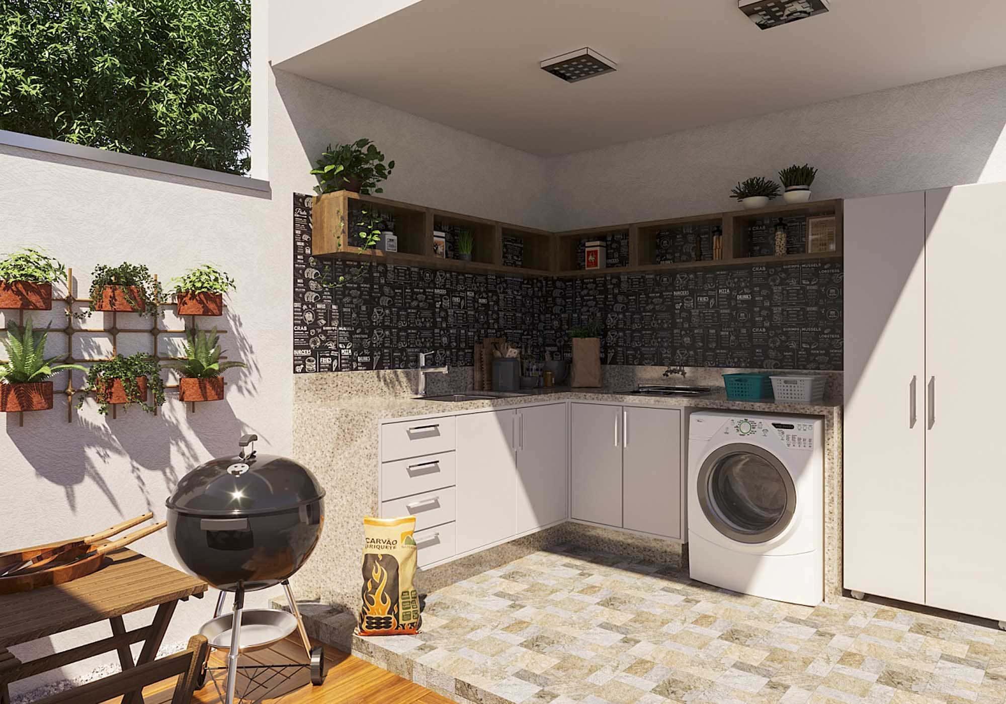 imagem com exemplo de móveis bem ornamentados com churrasqueira