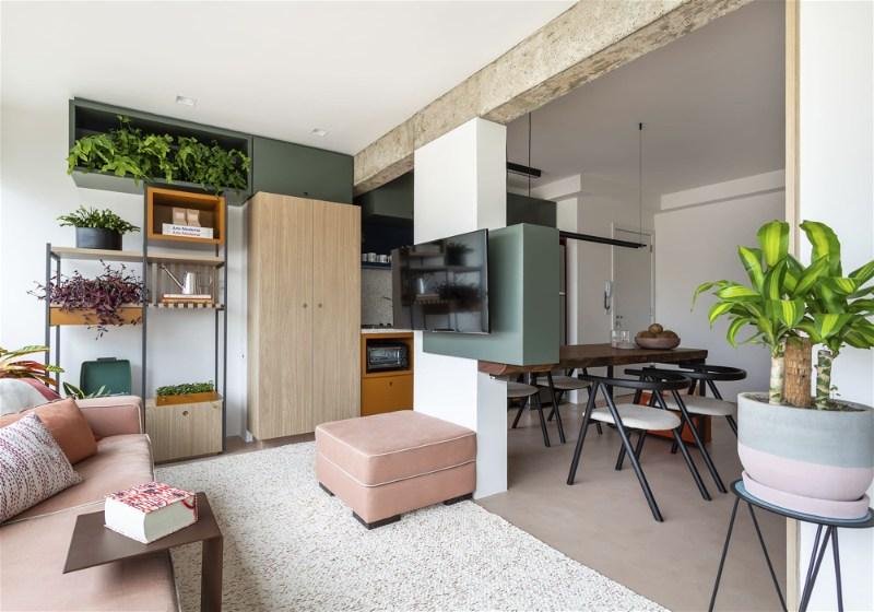 Imagem com dicas para decoração de apartamento com paleta de cor clara