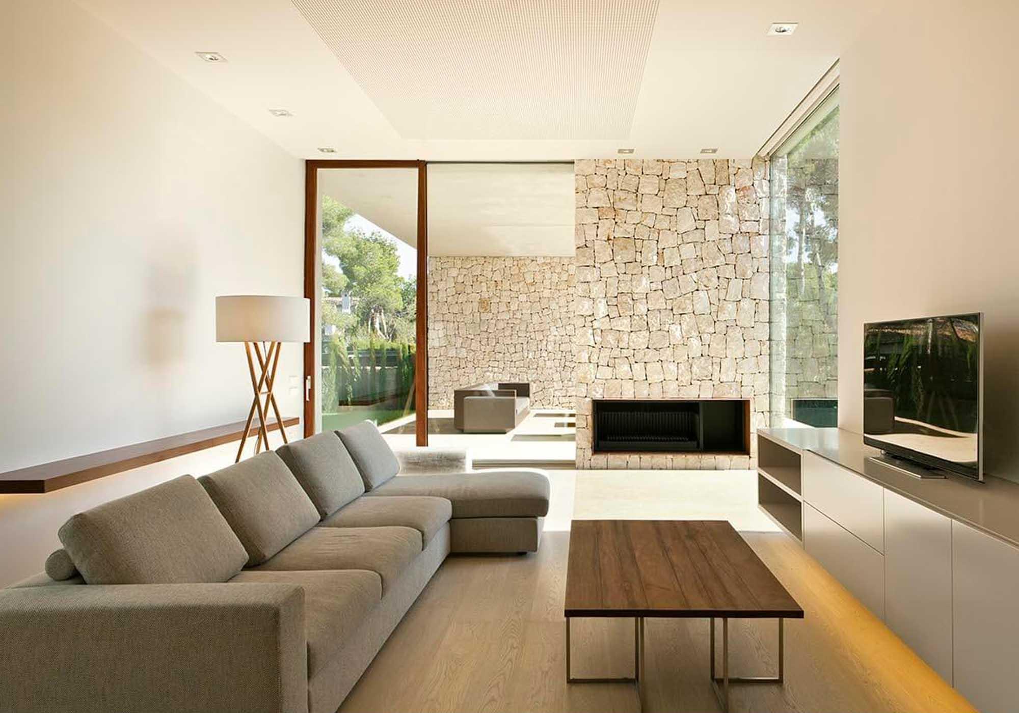 sala com decoração minimalista