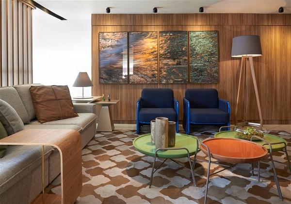 sala de estar com iluminação bivolt