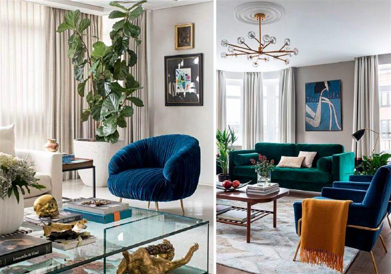Imagem de uma sala de estar vista de dois ângulos, contendo móveis e ornamentos dourados e na cor azul escuro