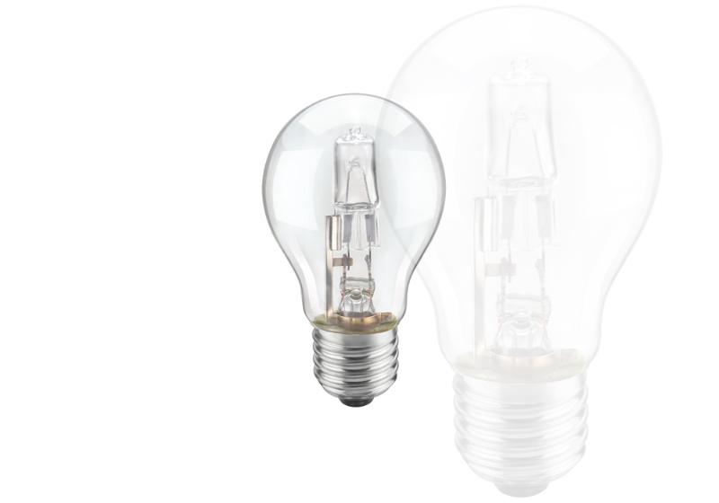 Imagem de uma lâmpada halógena em destaque