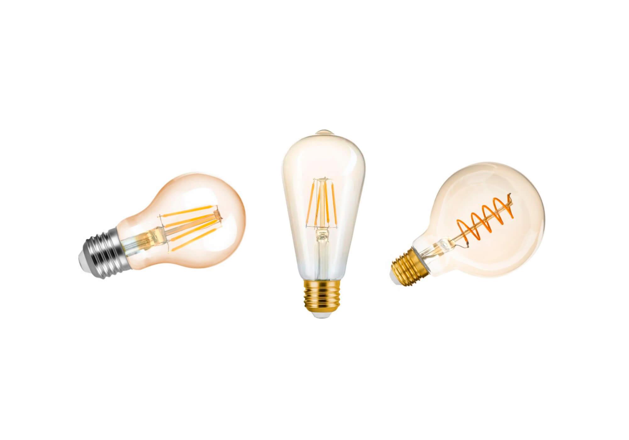 Três lâmpadas filamento led retro