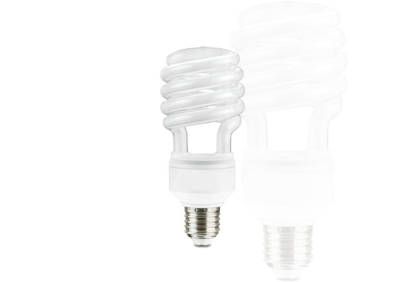 Imagem de uma lâmpada fluorescente em destaque