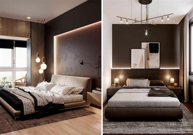 Imagem de um quarto de casal visto de dois ângulos, contendo itens de decoração dourados e na cor marrom