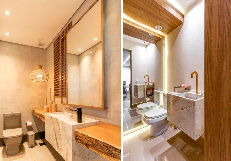 Imagens de dois banheiros com iluminação no teto e nas laterais da parede