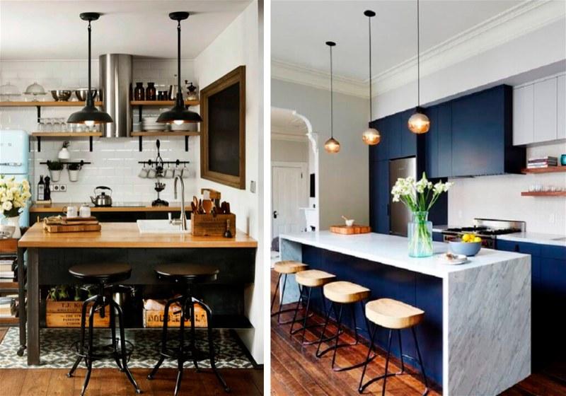 Imagem de duas cozinhas com pia, balcão, bancos e pendentes no teto
