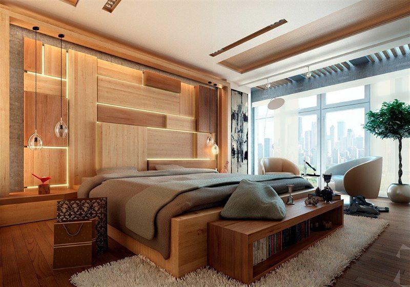 Imagem de um quarto de casal com iluminação na cabeceira