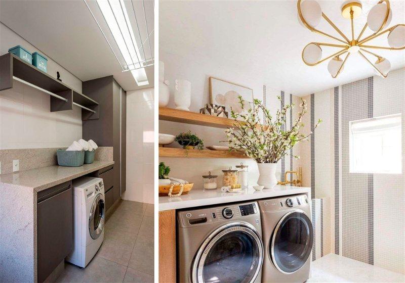 Imagens de duas lavanderias com projeto iluminotécnico