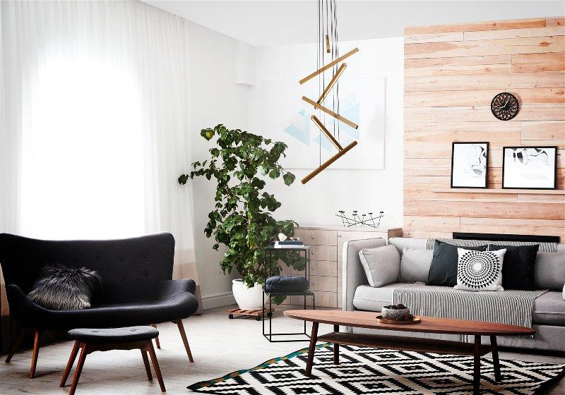 Imagem de sala de estar com pendentes