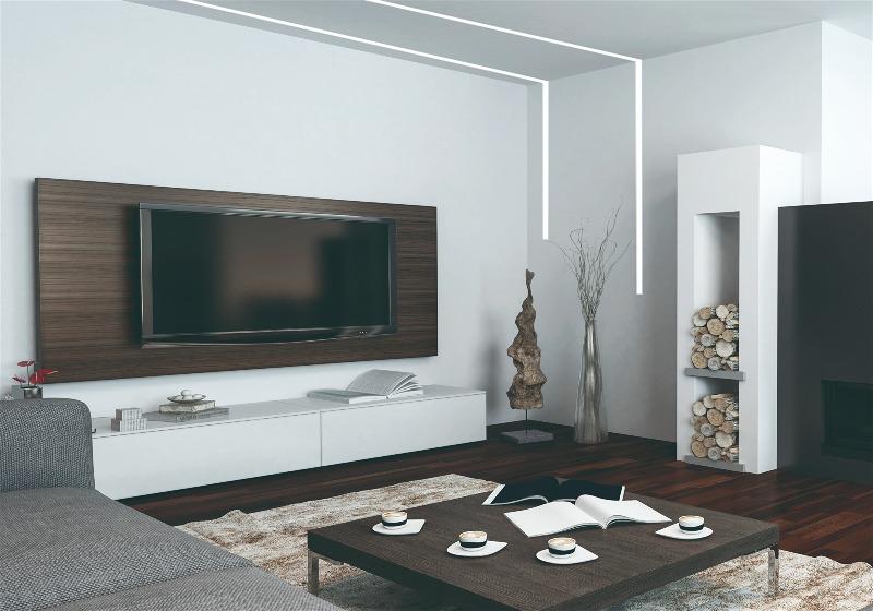 Imagem de sala de estar com filetes embutidos