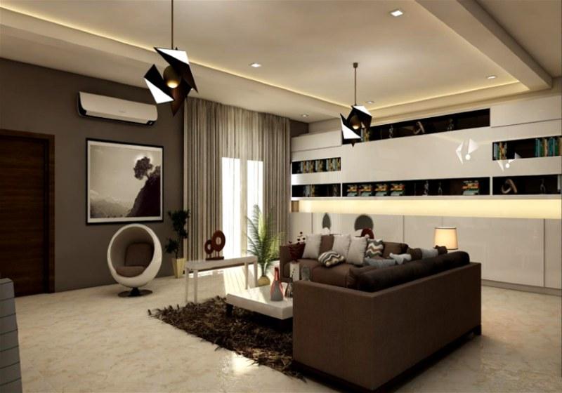 Imagem de sala de estar com sancas de gesso e rodateto