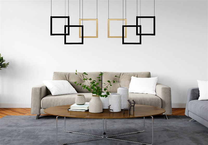 Imagem de sala de estar decorada com jogo de luminárias