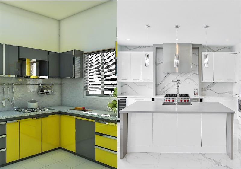 Imagem de duas cozinhas, uma com móveis amarelos e outra na cor branca
