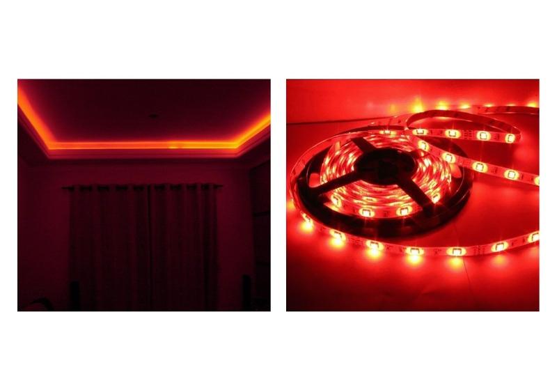 Imagem em destaque de ambientes decorados com fita LED na cor vermelha